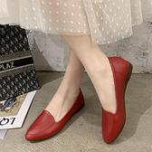 軟底單鞋女春秋季新款軟皮休閒皮鞋女尖頭工作鞋淺口平底女鞋紅色『向日葵生活館』