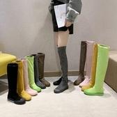 平底彈力高筒靴2019秋冬新款潮流過膝靴休閒運動風厚底舒適長靴女 超值價