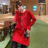 漂亮小媽咪 韓系針織洋裝【D9319】 蝴蝶 娃娃領 純色 長袖 毛衣裙 洋裝 毛線洋裝 毛線裙 []