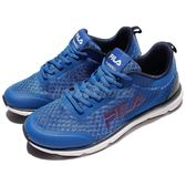 FILA 慢跑鞋 J319R 低筒 藍 黑 白底 運動鞋 輕量 基本款 男鞋【PUMP306】 1J319R332