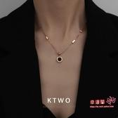 吊墜 韓版時尚新款ins網紅同款正品包18K玫瑰金項鍊女刻字鎖骨鍊吊墜