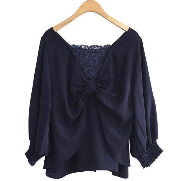 單一優惠價[H2O]V領背後有蝴蝶結裝飾七分大泡袖雪紡上衣 - 藍/白色 #9685001