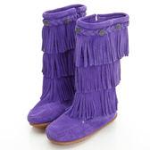 美國正品【MINNETONKA 】牛仔三層流蘇麂皮紫色長靴童鞋 在台24H 寄出