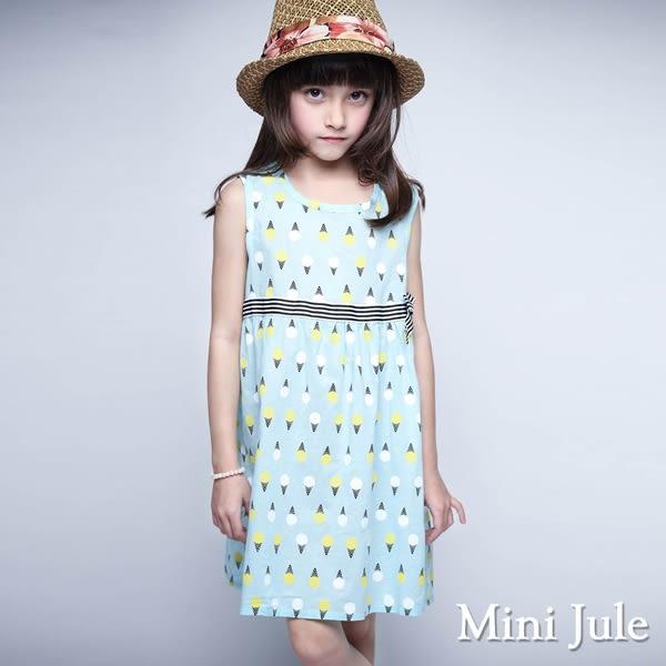 Mini Jule 女童 洋裝 滿版冰淇淋蝴蝶結腰帶無袖洋裝(水藍)