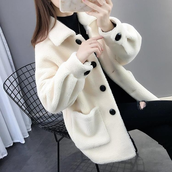 皮毛一體羊羔毛外套女秋冬新款羊剪絨時尚洋氣寬松顆粒絨開衫大衣 優拓