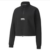 PUMA 女款黑色流行系列TFS半開襟立領衫-NO.59774801