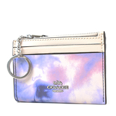 美國正品 COACH 渲染皮革證件鑰匙零錢包-粉紫【現貨】