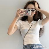polo衫-短袖t恤女夏2020年新款設計感小眾翻領polo衫法式短款高腰上衣服