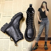 加絨棉鞋短靴女鞋英倫風馬丁靴子百搭瘦瘦秋冬季【繁星小鎮】