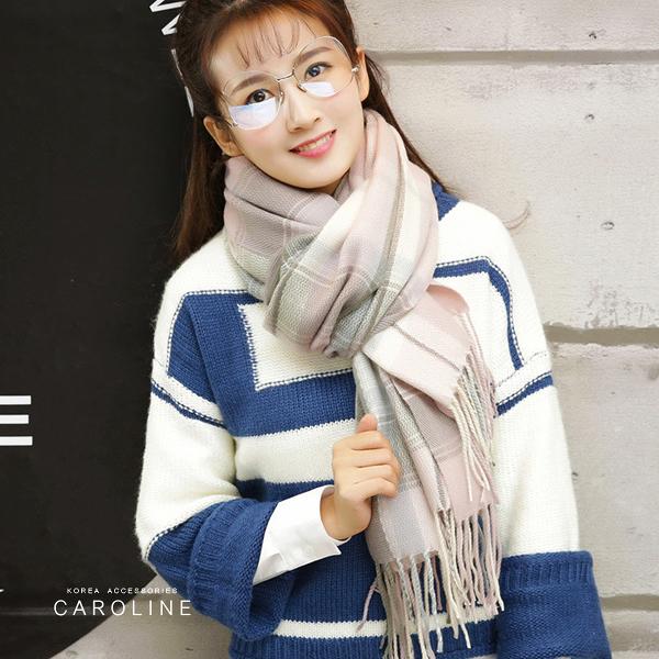 《Caroline》★ 本年度新款秋冬百搭彩色仿羊絨披肩  質地細膩舒適柔軟兩用圍巾71822