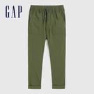 Gap男童 簡約風格彈力鬆緊腰休閒褲 574238-軍裝綠