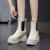 小個子馬丁靴顯腳小秋冬季2021新款厚底瘦瘦內增高女鞋短靴子單靴 8號店