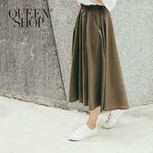 Queen Shop【04060286】鬆緊設計素面剪接寬褲 兩色售 S/M*預購*