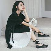 短袖裙裝夏季氣質小清新中長款T恤裙 雪紡寬鬆兩件套連身裙學生 科炫數位