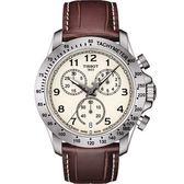 TISSOT 天梭 V8系列三眼計時手錶-黃x咖啡色錶帶/42.5mm T1064171626200