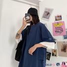熱賣假兩件上衣 加大碼女裝假兩件短袖t恤女潮胖mm夏季韓版學生寬鬆顯瘦上衣200斤 coco