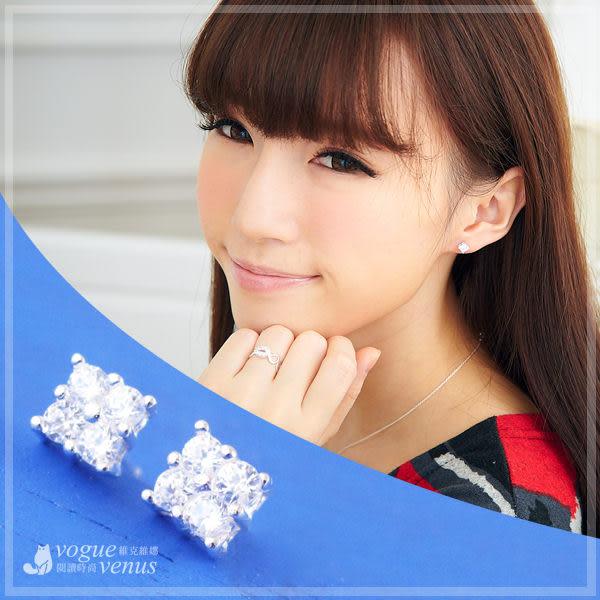 璀璨盛典 必備款爪鑲方鑽造型耳環 925純銀耳環 維克維娜