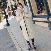 連帽外套-長版舖棉大毛領寬鬆直筒女夾克2色73wd43[巴黎精品]
