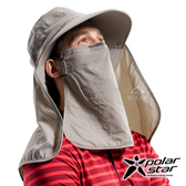 PolarStar 抗UV可拆式遮頸帽『深卡其』P18507 登山帽│工作帽│遮陽帽│釣魚帽│防曬帽│口罩