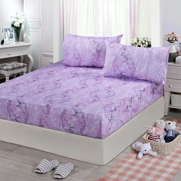 【FITNESS】精梳棉單人床包+枕套二件組-律彌爾(紫)_TRP多利寶