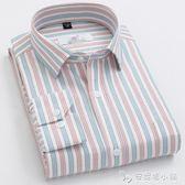 男士長袖襯衫純棉格子中年寬鬆商務條紋休閒全棉襯衫男裝 安妮塔小舖