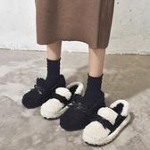 豆豆鞋 毛毛鞋女冬外穿2019新款秋季時尚網紅百搭平底加絨一腳蹬豆豆棉鞋TB
