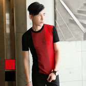 男 設計款/針織/短袖T恤 L AME CHIC 三色拼接彈性針織短TEE【FTST030704】