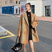 毛呢外套-中長版格子雙排扣加厚寬鬆女大衣73zq33[巴黎精品]
