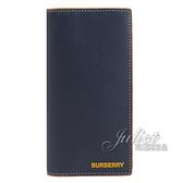 茱麗葉精品【全新現貨】BURBERRY 8030435 CAVENDISH 對開多卡零錢長夾.深藍