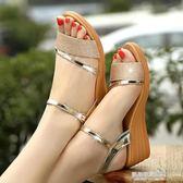 涼鞋女夏季新款防滑軟底真皮休閒孕婦大碼坡跟涼鞋女  凱斯盾數位3C
