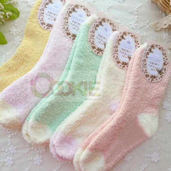 粉嫩冰淇淋拼接色軟綿綿地板襪子/毛巾襪(1雙入)【庫奇小舖】款式隨機出