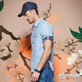 BIG TRAIN  素色配迷彩五分袖襯衫-男-淺藍