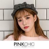 帽子 磚塊格紋貝蕾帽畫家帽 - PINK CHIC - 81613