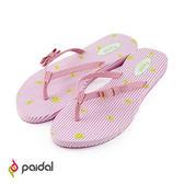 Paidal 條紋粉紅蝴蝶結耳帶夾腳拖鞋-小玉西瓜