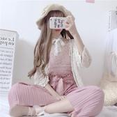 春季女裝新款日系鏤空防曬開衫 短款吊帶背心 高腰闊腿褲兩件套裝