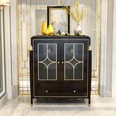 美式輕奢實木紅酒櫃歐式簡約餐邊櫃客廳裝飾展示櫃玄關隔斷櫃 DF萌萌小寵