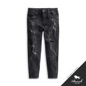 【Roush】 刷白破壞經典重磅黑色牛仔褲 -【9856】