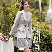 兩件套混搭外套西裝領+細肩帶碎花洋裝(外套+碎花洋裝)[99266-QF]美之札
