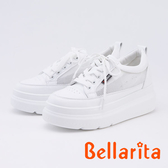 bellarita.網狀拼接厚底休閒鞋(9903-18白色)