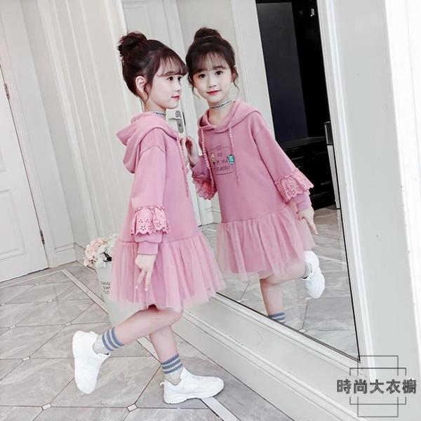 女童連身裙秋裝公主裙兒童洋裝衛衣裙長袖裙子【時尚大衣櫥】