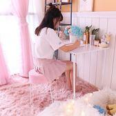 蜜堂梳化妝凳粉色少女心鐵藝圓形餐椅客廳臥室北歐簡約創意小椅子