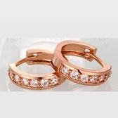 耳環 玫瑰金純銀 鑲鑽-甜美氣質可愛迷人生日母親節禮物女飾品2色73bu8【時尚巴黎】