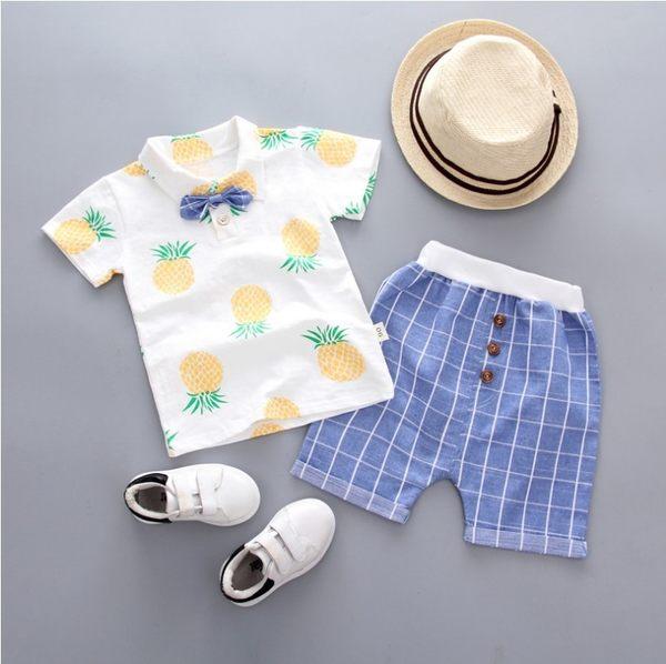 套裝鳳梨卡通圖樣 海綿寶寶鳳梨 棉質 圓領 男童短袖上衣+短褲 單款 寶貝童衣
