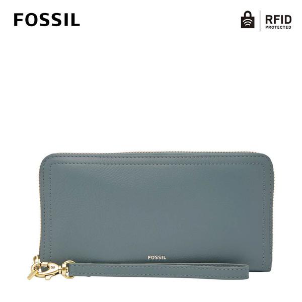 FOSSIL LOGAN 多層真皮拉鍊RFID防盜長夾-冷灰藍 SL7831197