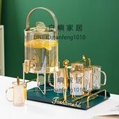 冷水壺涼水壺帶龍頭家用水杯套裝耐高溫客廳玻璃檸檬水容器大容量【白嶼家居】