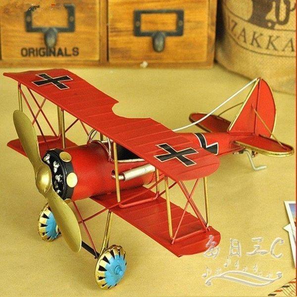 復古飛機模型仿真鐵皮工藝品創意家居擺件tz5284【每日三C】