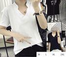 EASON SHOP(GU1408)實拍-小立領中山領大V領短袖T恤M-2XL女上衣白棉T寬鬆內搭衫純色黑色單色素色閨蜜裝