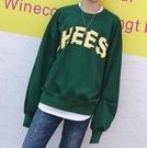 FINDSENSE Z1 韓國 時尚 潮 男 綠色 黃色字母 撞色 落肩 寬鬆衛