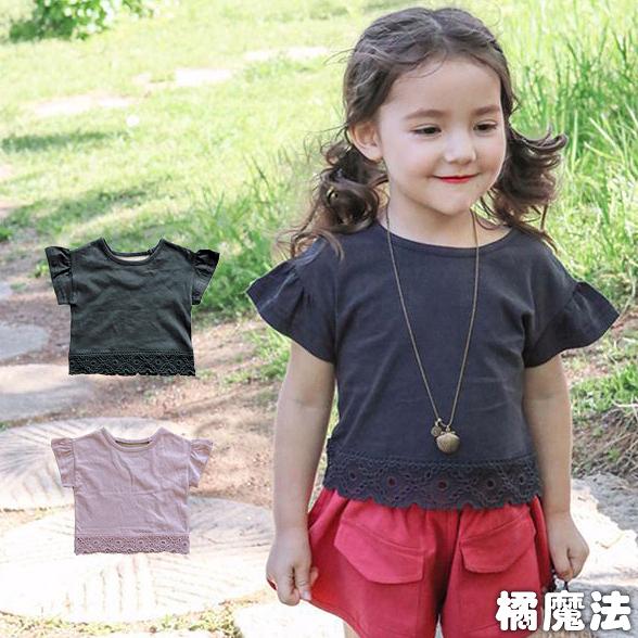 簍空蕾絲下擺小荷葉袖短袖上衣 大童 橘魔法 Baby magic 現貨 短袖 童裝 女童