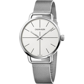 Calvin Klein CK Even 超然系列十字線米蘭帶手錶-銀/42mm K7B21126